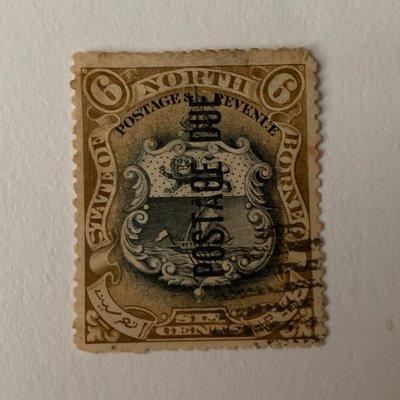 北婆羅洲 State of North Borneo Coat of Arms 6 cents overprinted Postage Due