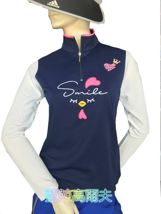 藍鯨高爾夫 Le coq sportif 女長袖立領拉鍊衫(深藍) #QL123102