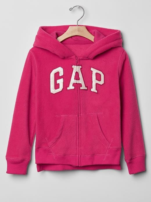 【BJ.go】GAP KIDS_Arch logo fleece zip hoodie 經典LOGO貼布繡刷毛連帽外套