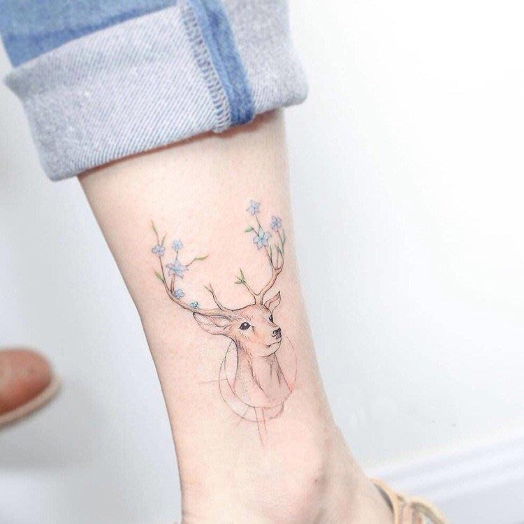 滿200起購 不滿不售韓國彩色可愛麋鹿小鹿小清新男女防水紋身貼持久腳踝動物刺青貼紙規格不同 價格不同