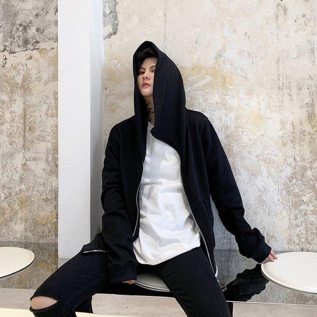 FINDSENSE 2019 秋冬上新 G19  暗黑先鋒個性拉鍊連帽衛衣上衣男裝百搭寬鬆休閒外套