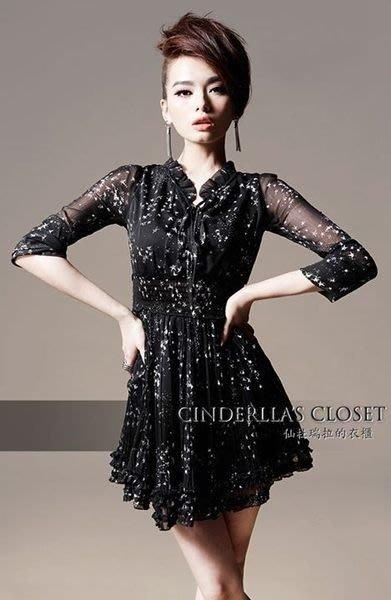 《仙杜瑞拉的衣櫃》現貨  sk0406 荷葉小立領 雪紡百摺星星婚禮裙 修身洋裝