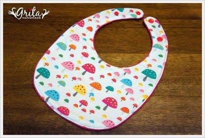 ♥grita's handmade♥純棉手作嬰幼兒圍兜兜/領巾/口水巾/三角巾/彌月禮—彩色小蘑菇