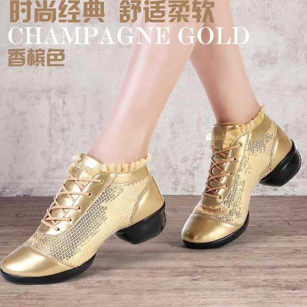 5Cgo【鴿樓】會員有優惠  522727182641 舞蹈鞋女款軟底廣場舞鞋新款中跟成人現代跳舞鞋漆皮系帶拉丁舞鞋