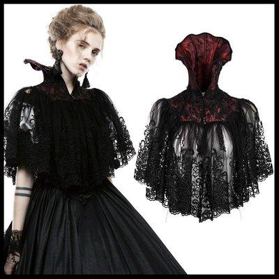 *MINI PUNK LOLO*歐洲中古世紀-幽靜的羅浮宮凱薩琳夫人暗紋蕾絲雕花魚骨立領披肩斗篷(WY-834)GOTH