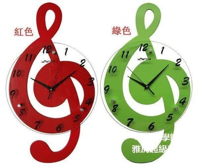 【格倫雅】^卡通掛鐘客廳掛表臥室田園歐式鐘表靜音時鐘音符大號 100[g-l-y93