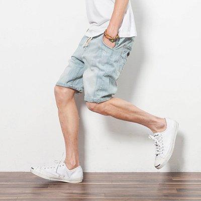 當日出貨!Overhead online shop 水洗刷破復古褲頭綁帶設計牛仔短褲