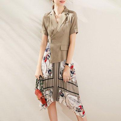 ♈尹愛服飾♈高端3007202氣質西裝拼接印花百褶不規則假兩件連衣裙