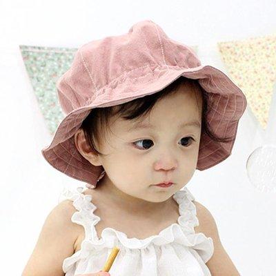 純棉寶寶遮陽帽0-3-6個月大檐漁夫帽 純色