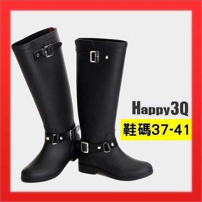 防水長靴長筒靴雨靴雨鞋後拉鍊馬靴時尚雨靴防水軍靴雨天-黑/紅37-41【AAA2193】預購