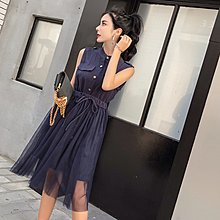 格格家 夏裝新款單排扣襯衣連衣裙+抽繩松緊網紗半身裙洋氣套裝女