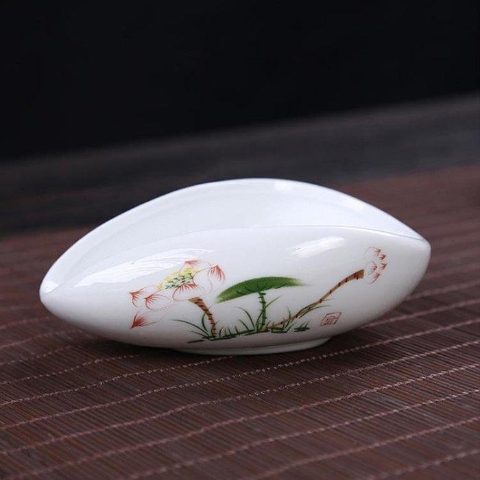 白瓷茶荷瓷茶則陶瓷茶則青花瓷