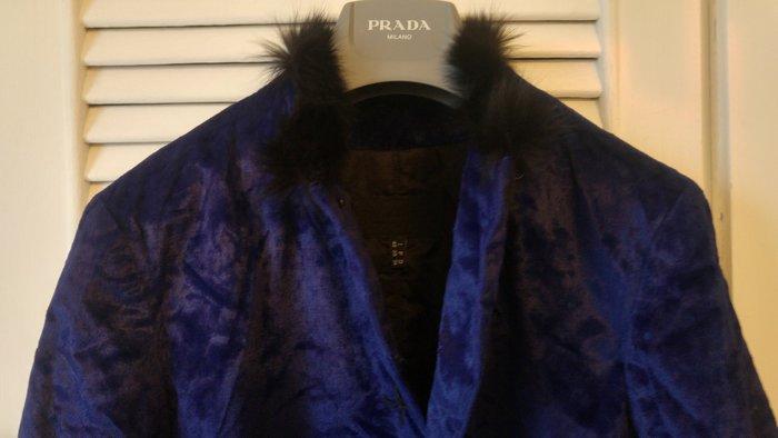 夏姿 寶藍色毛領飾滾邊絨外套