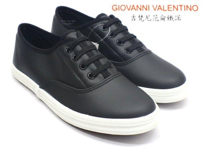 GIOVANNI VELENTINO 吉梵尼范侖鐵諾 女款乳膠皮面輕便休閒鞋 小白鞋 (GV8511B黑 )