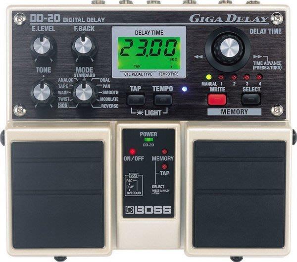☆ 唐尼樂器︵☆全新 BOSS DD-20 Giga Delay 民謠吉他/電吉他 Bass 數位延遲雙踏板效果器