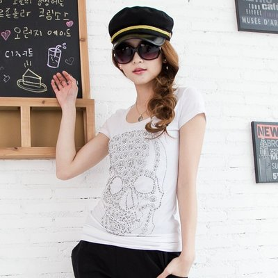 =EZZ=早班車13028 韓國 首爾時尚精品 東大門同步上新 韓版骷髏頭個性女裝 鐋鑽短袖T恤