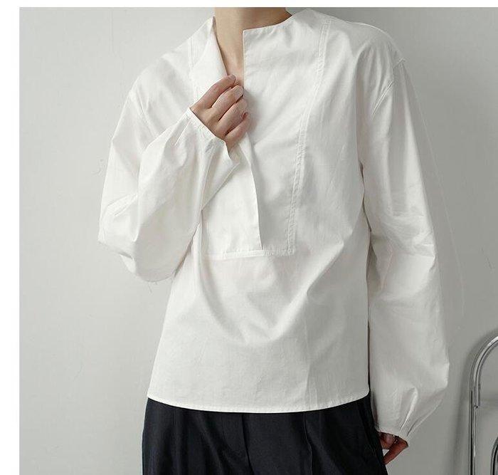 FINDSENSE X  男士 薄款 長袖寬松 休閑 短款泡泡袖慵懶套頭長袖氣質襯衫