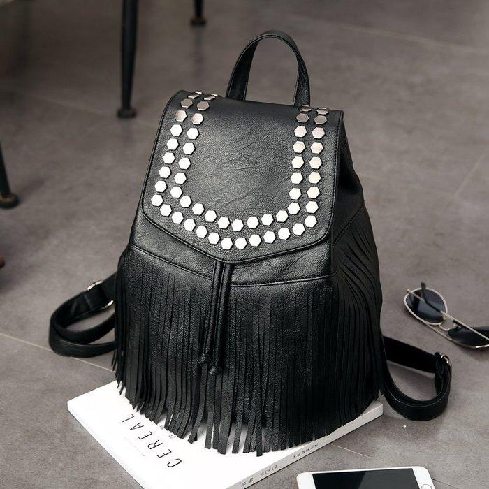 ~Linda~雙肩包女士包包新款潮韓版pu皮時尚個性鉚釘休閒百搭背包女包