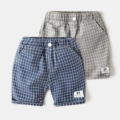 🚛NO.108童衣著👉短褲2色👈新款 男童90~130cm純棉紳士格紋貼標短褲 鬆緊腰圍休閒短褲