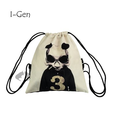 抽繩束口包 i-GEN_愛錢包_ 酷酷貓熊款 -阿法.伊恩納斯 雙肩包 綁繩袋 拉繩包 後背包 旅行用 數字包 游泳包