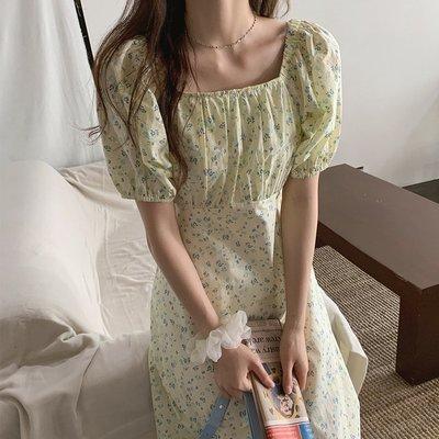 小琳的賣場韓國chic方領露鎖骨泡泡袖少女風甜美碎花溫柔中長款過膝連身裙夏