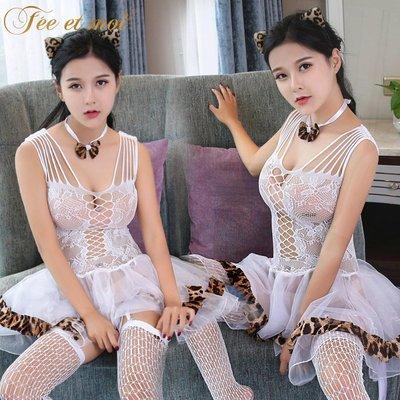 高品質 情趣 內衣情趣內衣性感女騷豹紋透視連身襪裙套裝極度制服誘惑連體襪8583