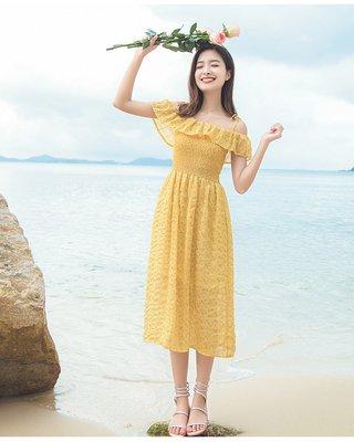 日韓服飾*碎花雪紡洋裝(淺黃)*韓國連...
