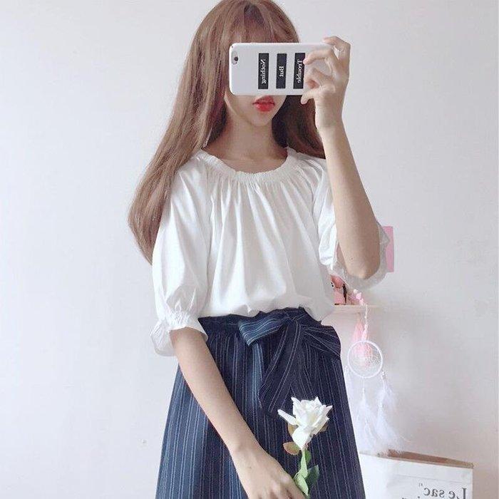 現貨~低價夏裝2019新款套裝韓版一字領學生上衣+條紋百搭褲裙甜美兩件套萌