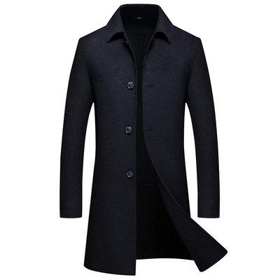毛呢大衣 長版風衣-純色單排扣翻領修身男外套2色73wk30[獨家進口][米蘭精品]