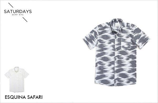 WaShiDa SATURDAYS NYC 美國品牌 ESQUINA SAFARI 幾何 花紋 短袖襯衫 現貨 SALE