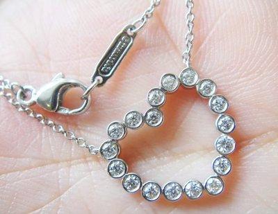 Tiffany PT950 白金甜美愛心鑽石項鍊, 專櫃價8萬5000元!!!