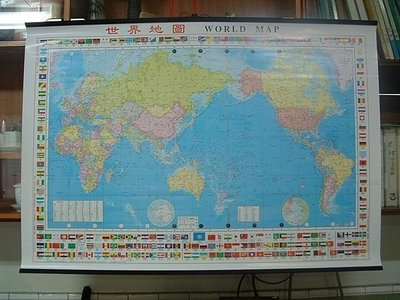 ((世界地圖))中英文-全開世界地圖78X108cm(國產精美地圖)+中國行政圖--上光防水共兩張