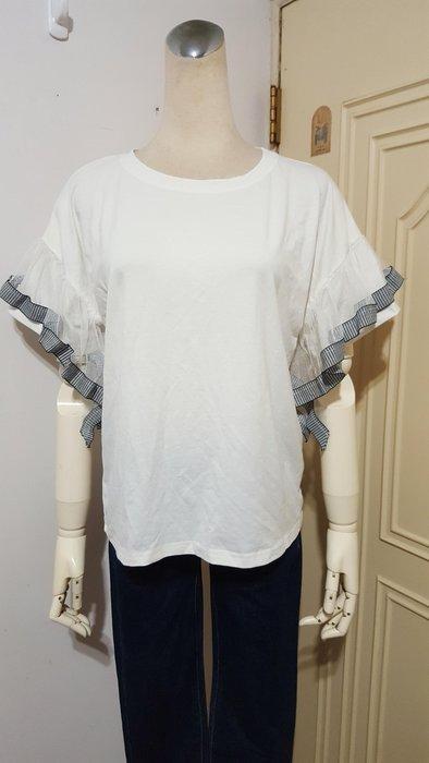 精品服飾米白落肩飾荷葉網紗袖棉衫(適M~L)*250元直購價*