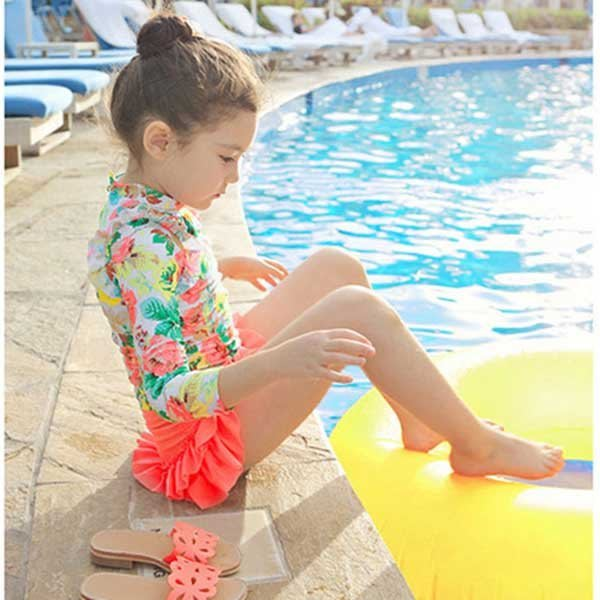 5Cgo【鴿樓】會員有優惠 44209003974 韓國裙式兒童分體泳衣女童防曬泳裝溫泉公主學生長袖小中大童游泳衣
