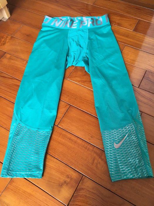 全新 NIKE HYPERCOOL PRO 七分 束褲 湖水綠色 保暖 重訓 慢跑 籃球 747427-345 特價