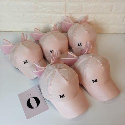 韓國新品超大蝴蝶結棒球帽少女心春夏甜美粉色M標遮陽嘻哈鴨舌帽