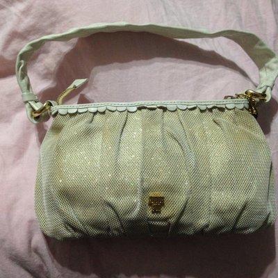 正品 Anna Sui 真品白色牛皮+網眼布料側肩背包 原價一萬多
