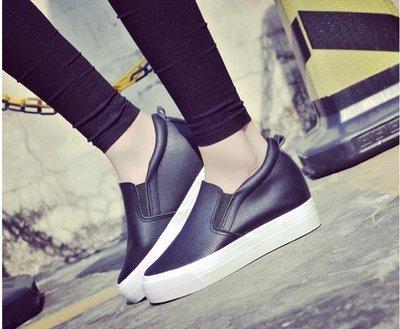 秋季厚底皮面內增高帆布鞋女學生一腳蹬懶人鞋韓版百搭黑色女鞋