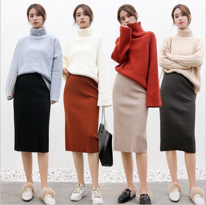 針織包臀裙 (YY1018-5) 實拍秋冬好質量彈力高腰包臀針織裙 及膝裙 長裙