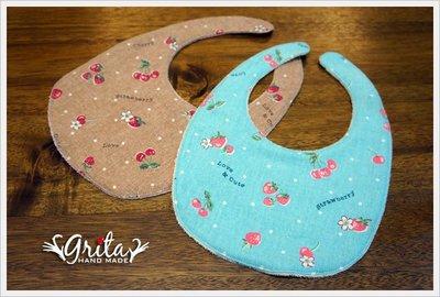 ♥gritas handmade♥純棉手作嬰幼兒圍兜兜/領巾/口水巾/三角巾/彌月禮—草莓與櫻桃