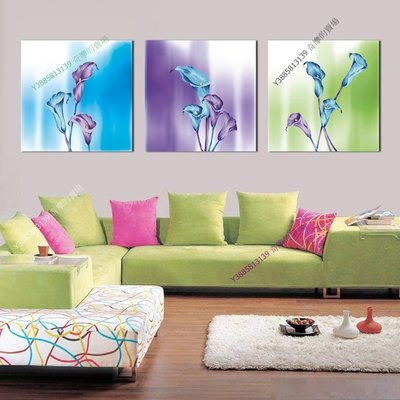 【50*50cm】【厚2.5cm】彩色花卉-無框畫裝飾畫版畫客廳簡約家居餐廳臥室牆壁【280101_343】(1套價格)