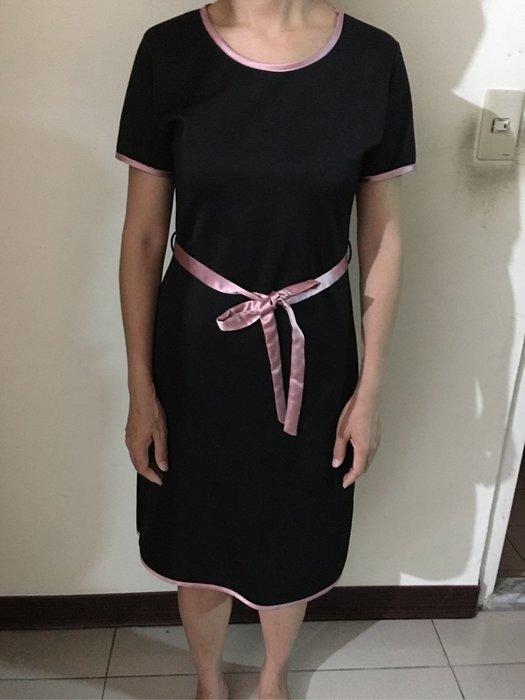 二手韓國製黑色短袖短洋裝粉紅滾邊 蝴蝶結 OL上班服