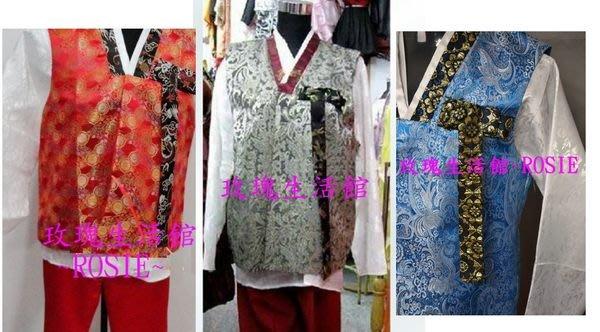 【演出show】~ 傳統韓服男士3件式套裝: 男韓服,宮廷服,表演服:均碼,紅,銀灰,藍