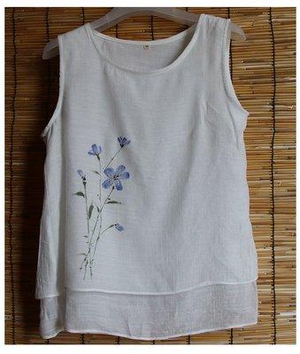 (老銀屋)夏季雙層絲棉手繪圖內搭/外穿無袖背心
