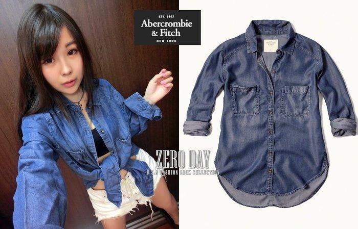 【零時差美國時尚網】A&F Abercrombie&Fitch Dark Wash Denim Shirt刷白牛仔襯衫藍