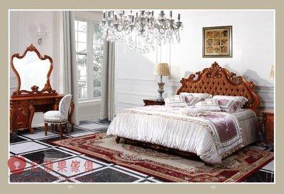 [紅蘋果傢俱] A318A-2 艾廷軒系列 頂級進口 歐式 法式  新古典 金箔雕花 彩繪 床台 雙人床 加大床 床組