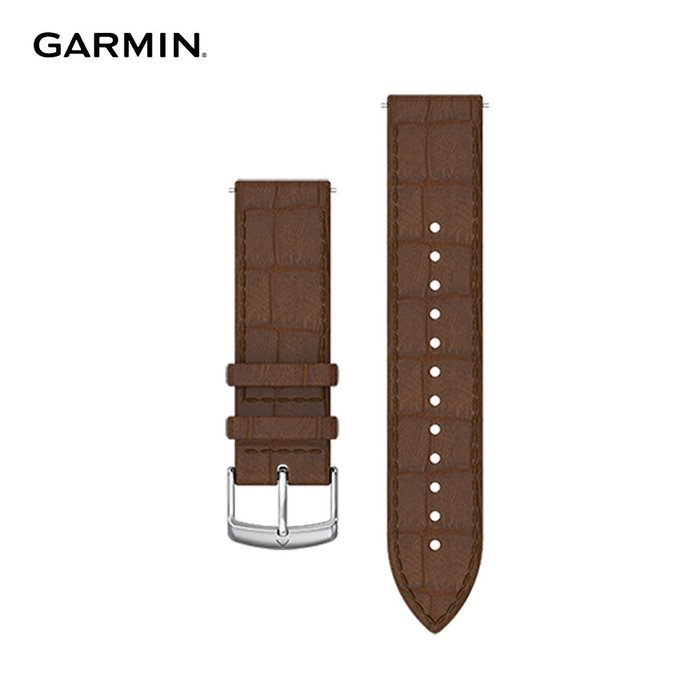 【桃園幸運草】*含稅**附發票* GARMIN Quick Release 20mm 義大利皮革錶帶 深棕色鱷魚紋