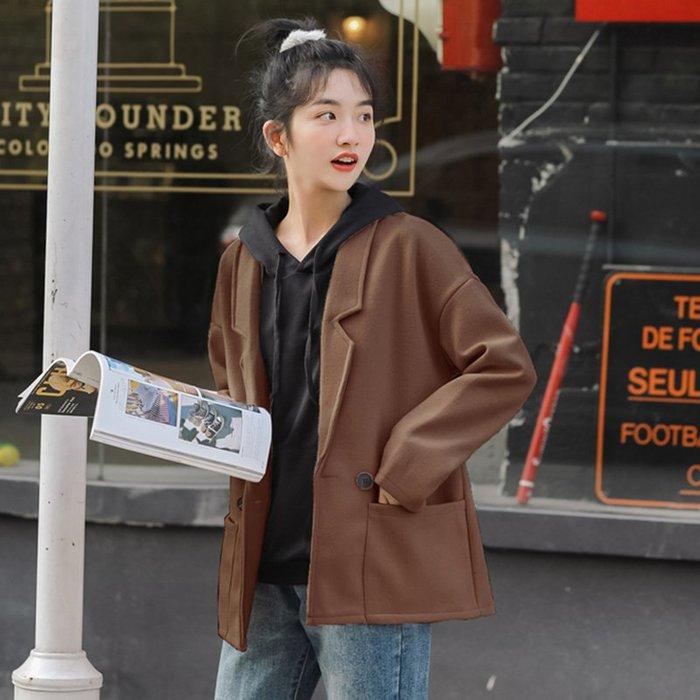 SeyeS 時尚復古率性簡約基本款毛呢西裝外套