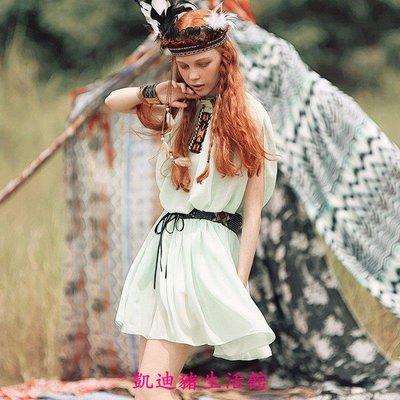 【凱迪豬生活館】夏季原創女小清新雪紡鬆緊腰無袖百褶連衣裙 AD1425KTZ-200948