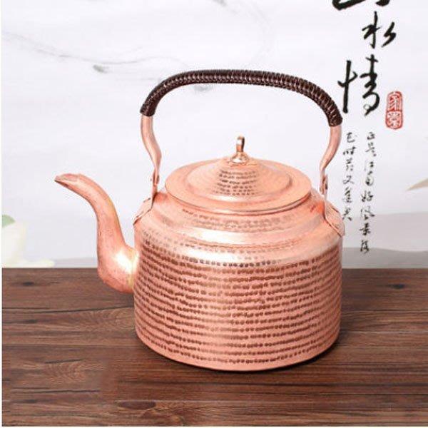 5Cgo【茗道】含稅會員有優惠  43212125396 銅壺手工加厚純紫銅銅茶壺茶具純銅銅水壺燒水壺功夫茶 中號